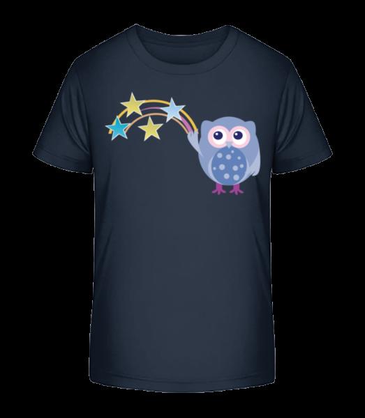 Cute Owl With Stars - Detské Premium Bio tričko - Namornícka modrá - Predné