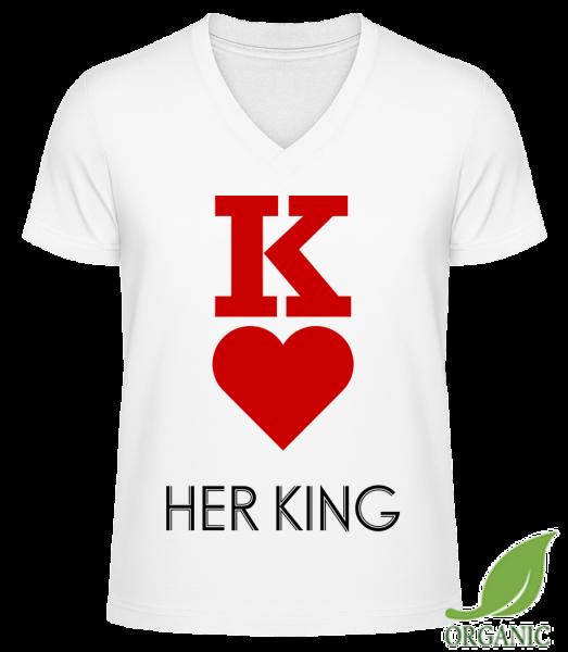 """Her King - """"James"""" Organické tričko s V-výstrihom - Biela - Predné"""
