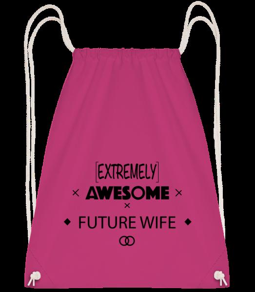 Awesome Future Wife - Drawstring batoh so šnúrkami - Magenta - Predné