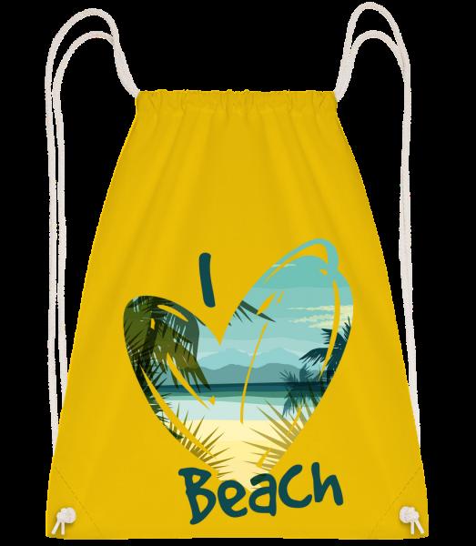 I Love Beach Heart - Drawstring batoh so šnúrkami - Žltá - Predné