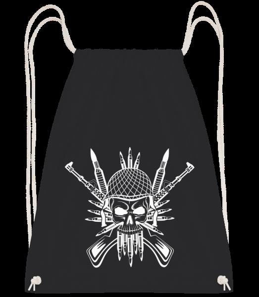 Soldier Skull Tattoo - Drawstring batoh so šnúrkami - Čierna1 - Predné