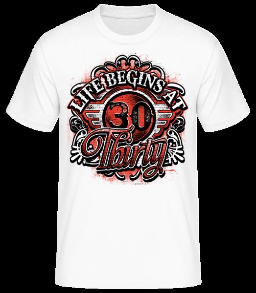 Život začína v 30 - Pánske basic tričko - Biela - Predné