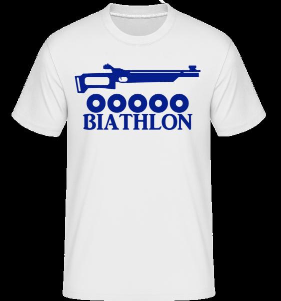 Biatlon Icon Modrá -  Shirtinator tričko pre pánov - Biela - Predné