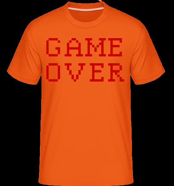 Game Over Pixel -  Shirtinator tričko pre pánov - Oranžová - Predné