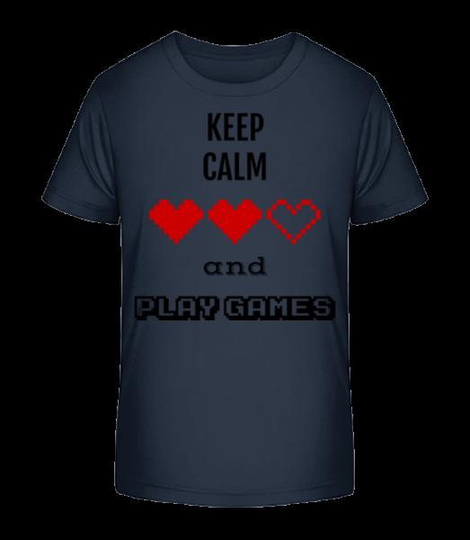 Hrať hry - Detské Premium Bio tričko - Namornícka modrá - Predné