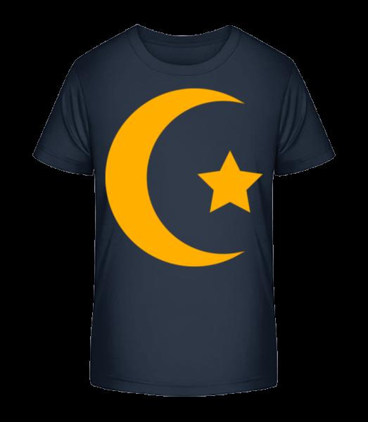 Moon And Star Icon Yellow - Detské Premium Bio tričko - Namornícka modrá - Predné