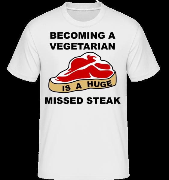 Stávať sa vegetariánom je obrovský Missed Steak - Shirtinator tričko pre pánov - Biela - Predné