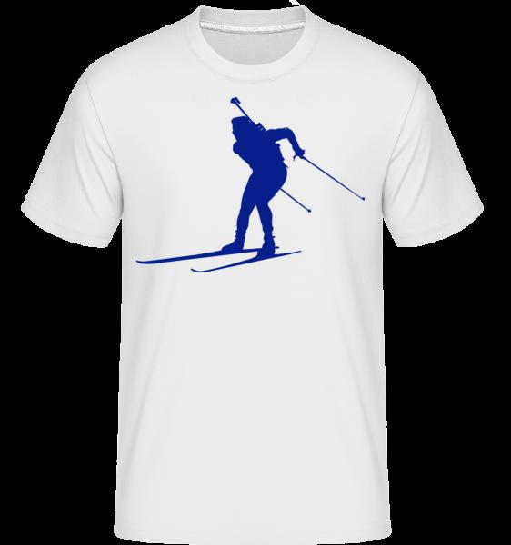 Lyžovanie Cross Country Modrá -  Shirtinator tričko pre pánov - Biela - Predné