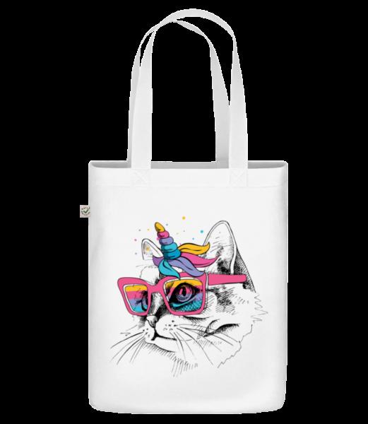 """Unicorn Party Cat - Organická taška """"Earth Positive"""" - Biela - Predné"""