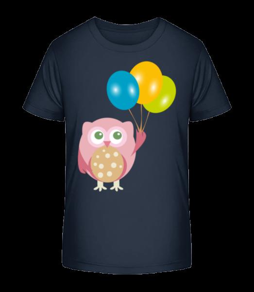 Cute Owl s balónikmi - Detské Premium Bio tričko - Namornícka modrá - Predné