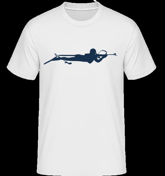Biatlon Modrá - Shirtinator tričko pre pánov - Biela - Predné