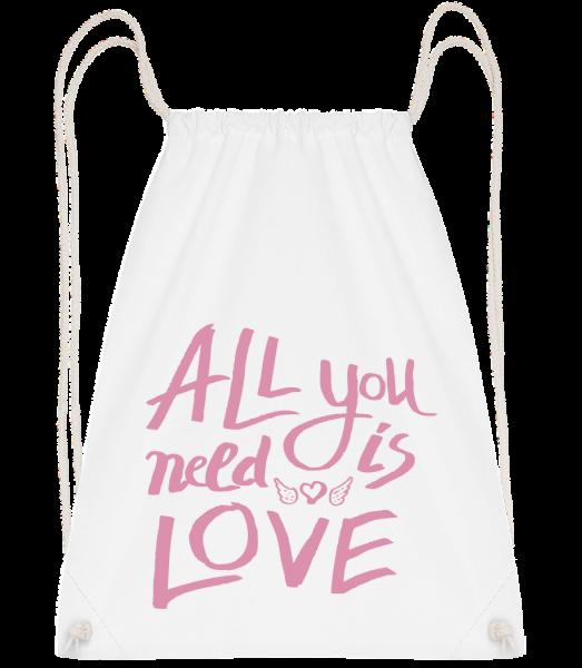 All You Need Is Love - Drawstring batoh so šnúrkami - Biela - Predné