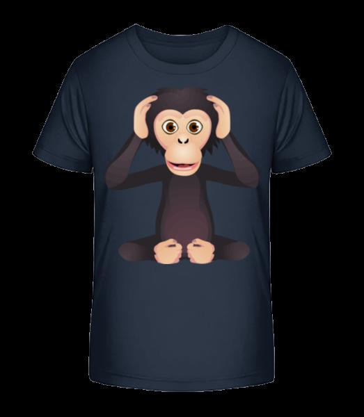 hluchý Monkey - Detské Premium Bio tričko - Namornícka modrá - Predné