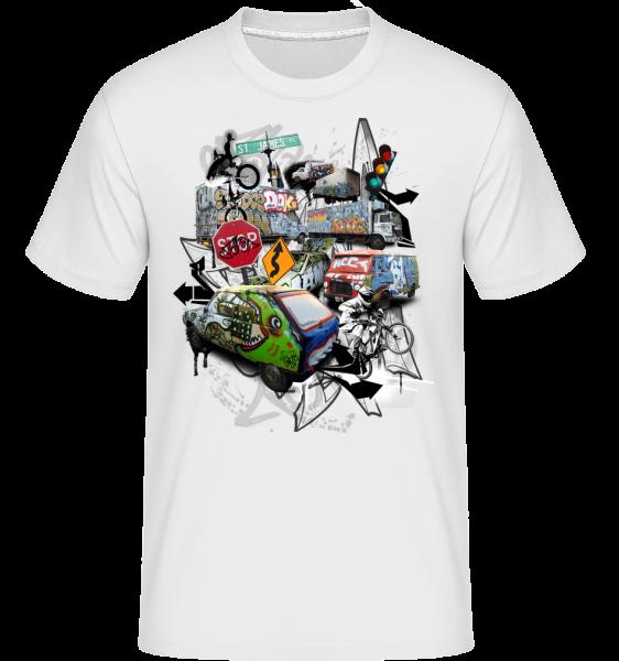 Traffic Chaos - Shirtinator tričko pre pánov - Biela - Predné