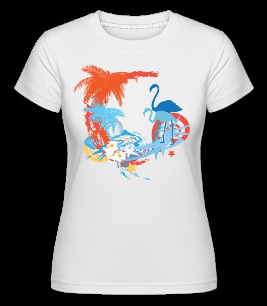 Flamingos In Paradise Blue/Orang -  Shirtinator tričko pre dámy - Biela - Predné