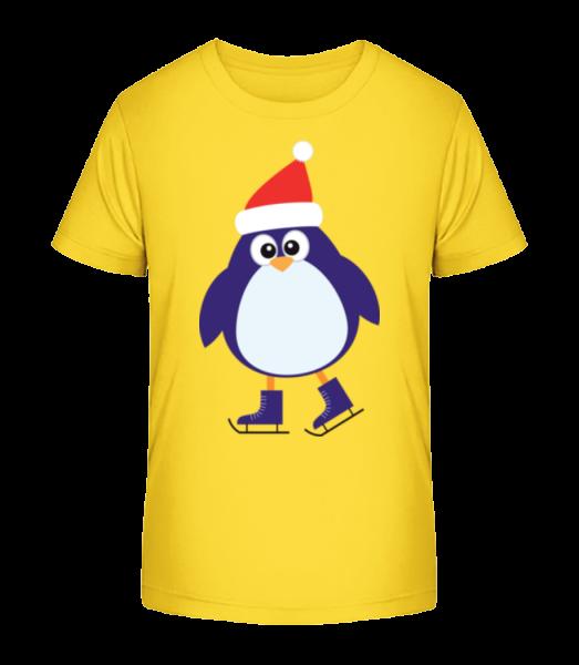 Ice Skate Penguin - Detské Premium Bio tričko - Žltá - Predné