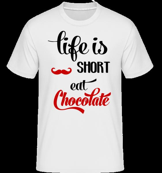 Life Is Short, Eat Chocolate -  Shirtinator tričko pre pánov - Biela - Predné
