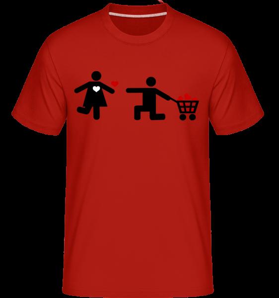 Woman And Man With Heart Logo -  Shirtinator tričko pre pánov - červená - Predné