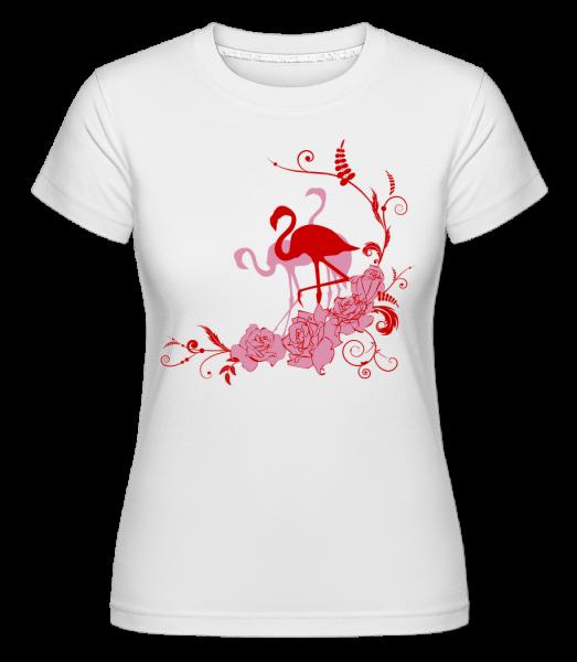 Flamingos Flowers -  Shirtinator tričko pre dámy - Biela - Predné