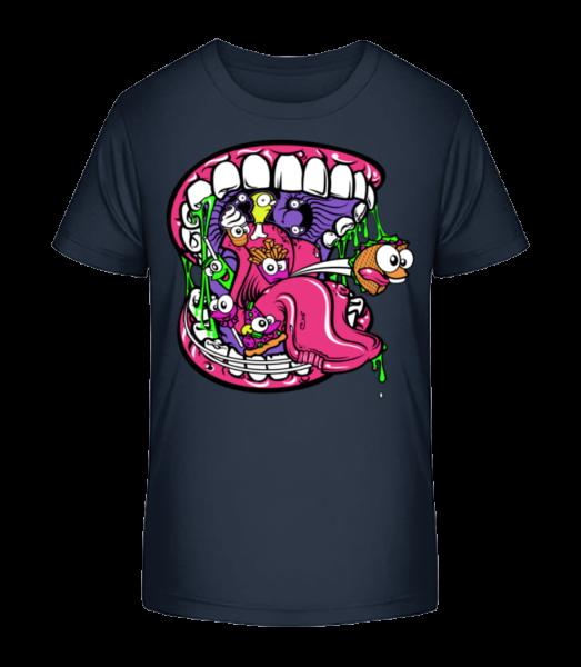Fast Food Mouth - Detské Premium Bio tričko - Namornícka modrá - Predné