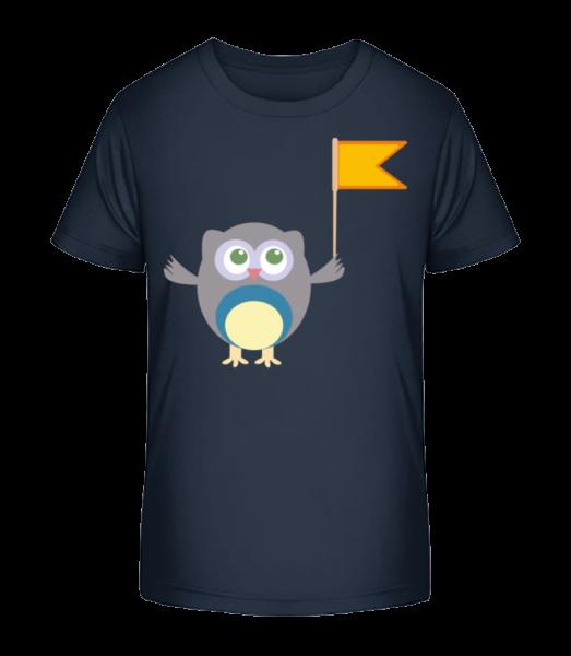Cute Owl S Flag - Detské Premium Bio tričko - Namornícka modrá - Predné