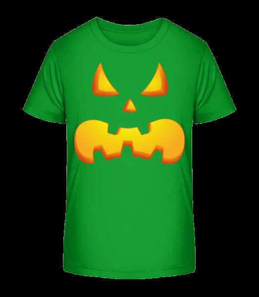 Tekvica tváre Evil - Detské Premium Bio tričko - Zelená - Predné