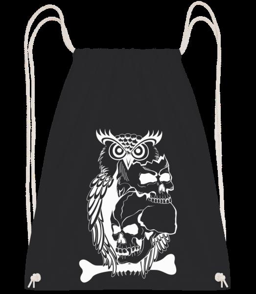 Owls Skulls Tattoo - Drawstring batoh so šnúrkami - Čierna1 - Predné