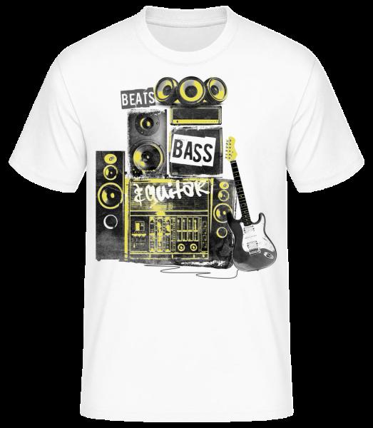 Poraziť basgitaru a gitaru - Pánske basic tričko - Biela - Predné