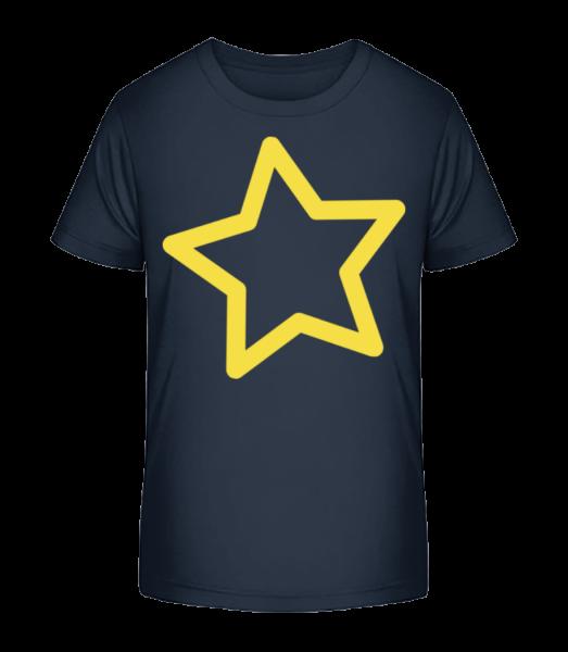Star - Detské Premium Bio tričko - Namornícka modrá - Predné