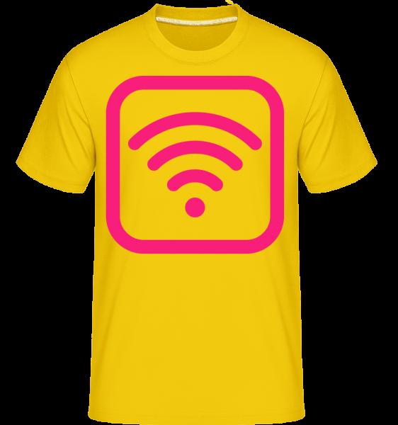 Wlan ikony Pink -  Shirtinator tričko pre pánov - Zlatožltá - Predné