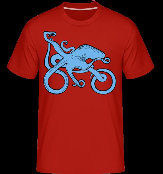 Motorcycle Octopus -  Shirtinator tričko pre pánov - Červená - Predné