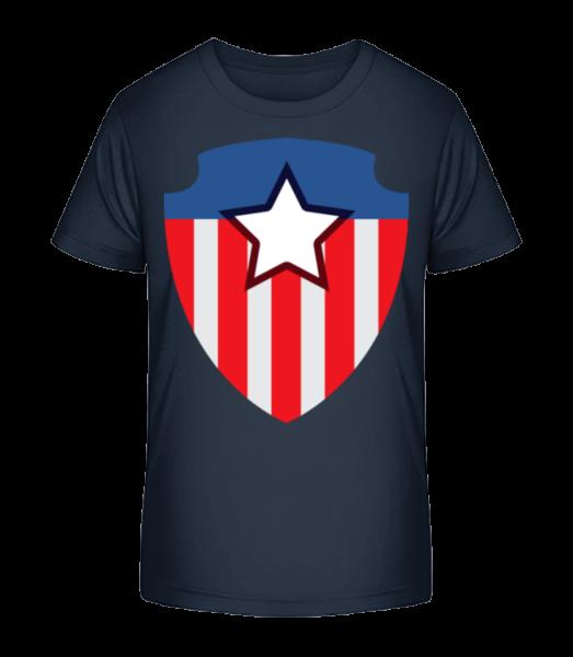 Superhero Emblem - Detské Premium Bio tričko - Namornícka modrá - Predné