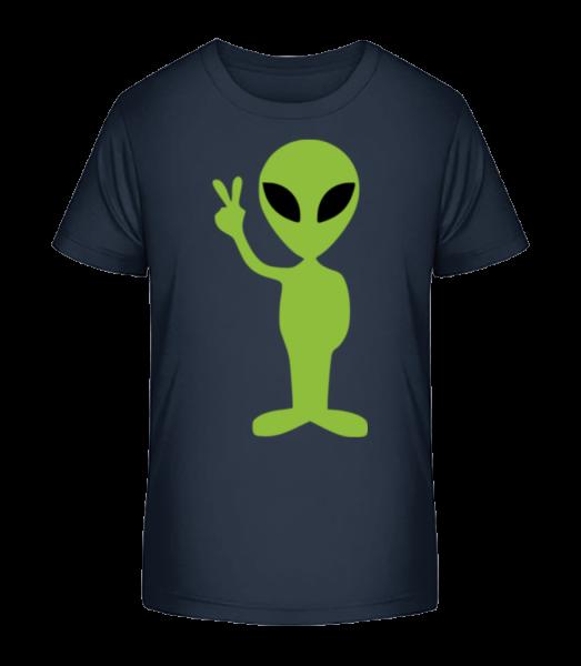 Alien Peace Sign - Detské Premium Bio tričko - Namornícka modrá - Predné