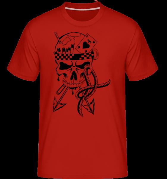 Skull Tattoo bojovník -  Shirtinator tričko pre pánov - Červená - Predné