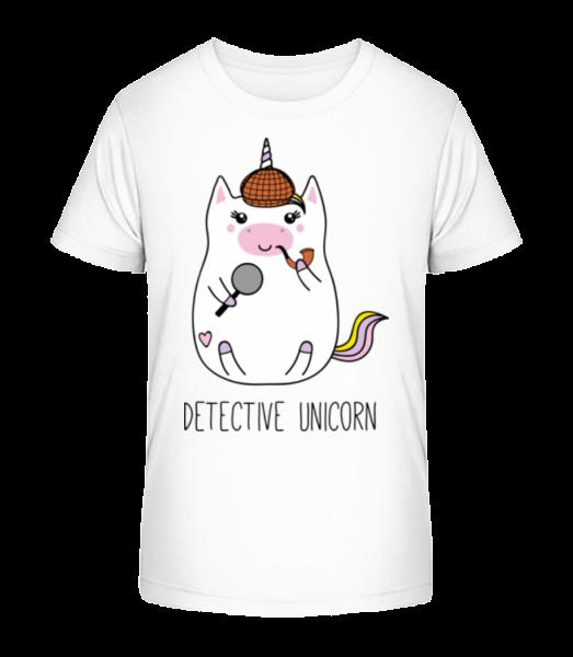 detektívne Unicorn - Detské Premium Bio tričko - Biela - Predné