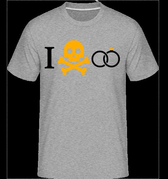 manželstvo Skull - Shirtinator tričko pre pánov - Melírovo šedá - Predné