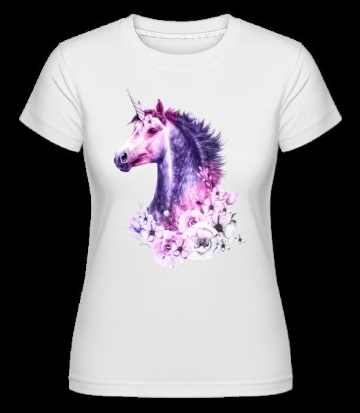 kvety Unicorn -  Shirtinator tričko pre dámy - Biela - Predné