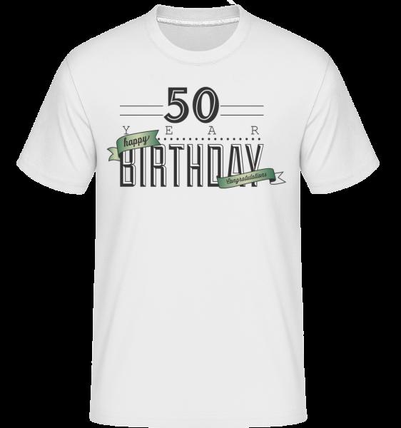 50 narodeniny znamenia -  Shirtinator tričko pre pánov - Biela - Predné