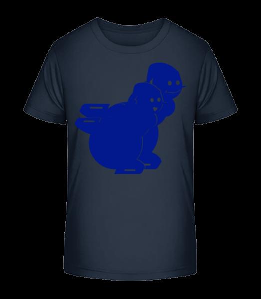 Korčuľovanie snehuliaci modrá - Detské Premium Bio tričko - Namornícka modrá - Predné