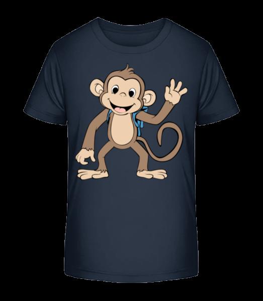 Roztomilý Monkey S Bag - Detské Premium Bio tričko - Namornícka modrá - Predné