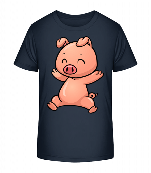 Prasiatko Jumping Comic - Detské Premium Bio tričko - Namornícka modrá - Predné