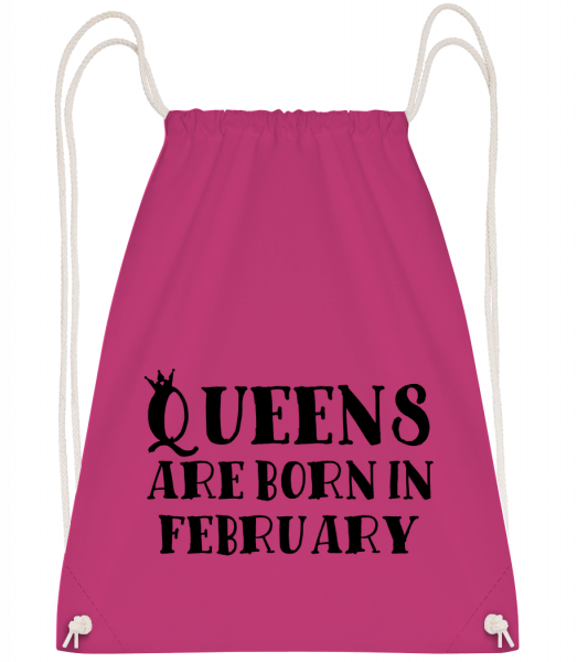 Queens Are Born In February - Drawstring batoh so šnúrkami - Magenta - Predné