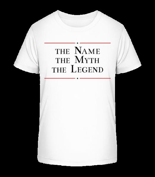 Name The Myth The Legend - Detské Premium Bio tričko - Biela - Predné