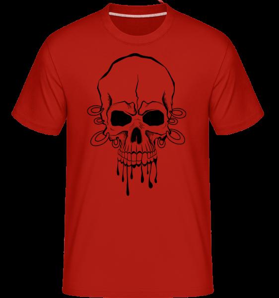 Lebka s zápästia tetovanie -  Shirtinator tričko pre pánov - Červená - Predné