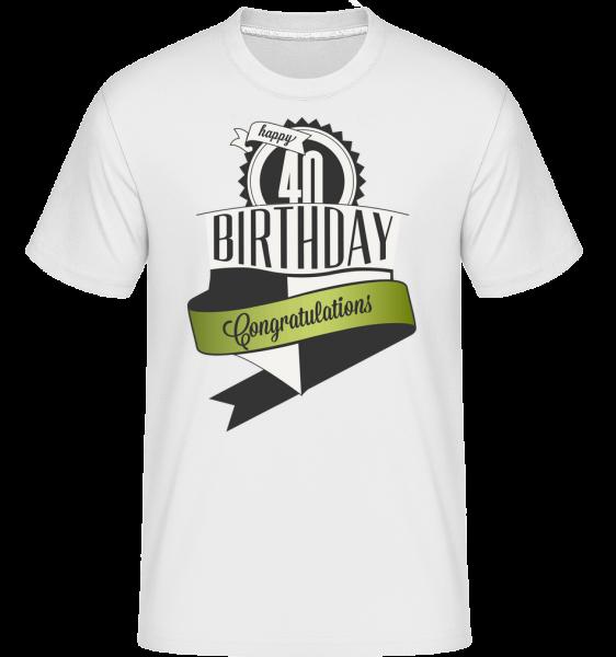 40 Birthday Congrats - Shirtinator tričko pre pánov - Biela - Predné