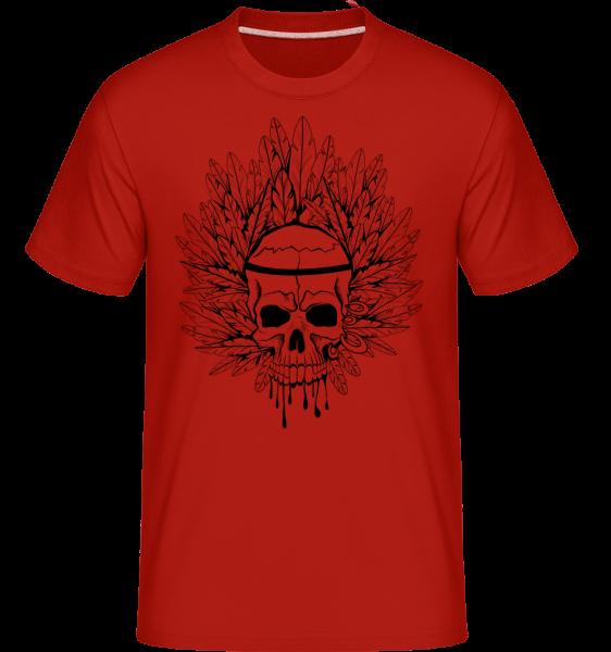 Skull Indian Tattoo -  Shirtinator tričko pre pánov - Červená - Predné
