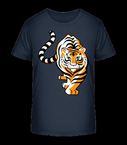 tiger - Detské Premium Bio tričko - Namornícka modrá - Predné