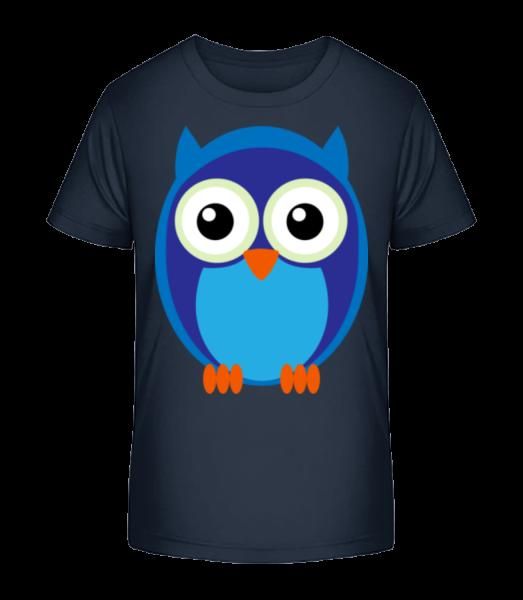Kids Owl Blue - Detské Premium Bio tričko - Namornícka modrá - Predné