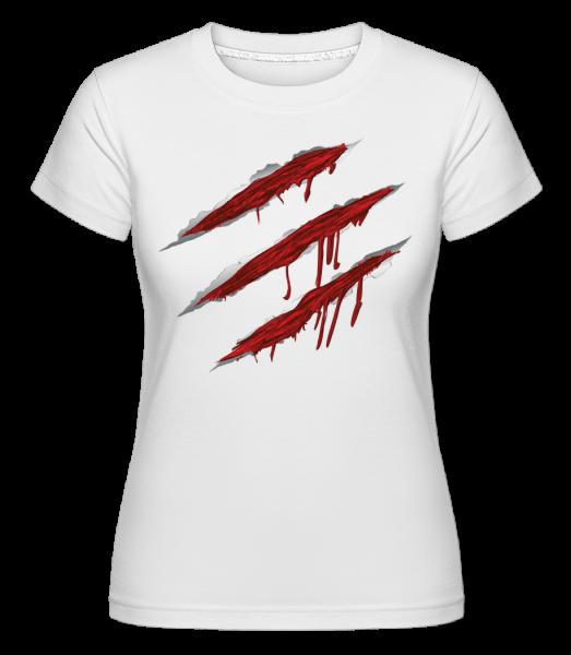 krvavé škrabance -  Shirtinator tričko pre dámy - Biela - Predné